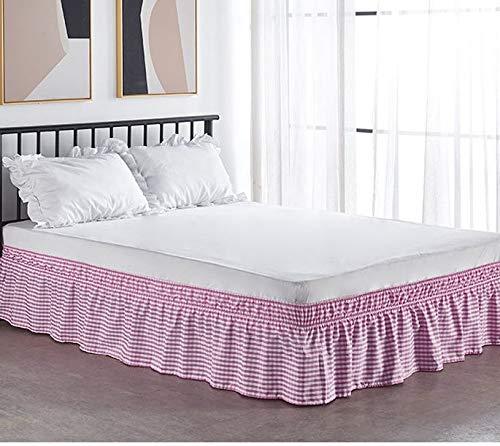 LANG ZI Falda de Cama, 150/135 cm Volantes elástica Falda de Cama 38cm Bedding Ruffled Bedskirt Medidas canapé Cubre unda de Somier Faldón de Volantes con (Color : A, Size : 180 * 200cm)