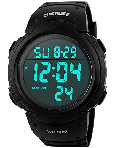 pasoy Hombres Mujeres Digital Reloj Big Esfera luz LED Alarma de natación Banda de Goma Impermeable Negro Relojes de Leds 50mm