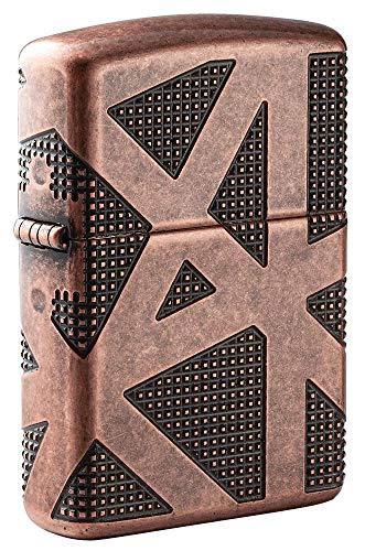 Zippo Armor Deep Carve Feuerzeuge, Unisex-Erwachsene, Armor Antique Copper Geometric 360 Design Pocket Lighter, Antikes kupferfarbenes geometrisches Design, One Size