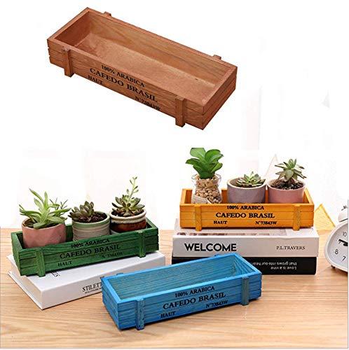 ANNIUP Maceta de Madera para Plantar Hierbas suculentas, Verduras suculentas, Interior/Exterior, Rectangular