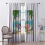 Toopeek - Hamaca de cortina de color resistente al desgaste, entre palmeras en la playa, diseño de dibujos animados, composición digital, tela impermeable, 100 x 84 pulgadas, multicolor