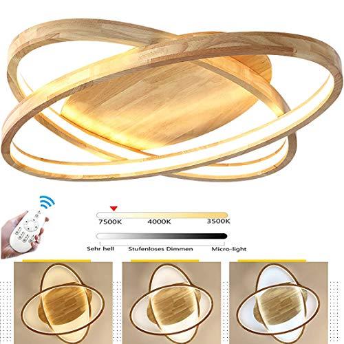 50W Holz LED-Deckenleuchte, Ø52cm 2-RingRunde Dimmbar Deckenlampe mit Fernbedienung Modern Dekor Wohnzimmer-Lampe, Ultradünne Oval Schlafzimmer Deckenlicht, Acryl-Schirm Decke Licht Holzlampe