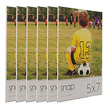 Snap 07FP886C 5x7 Magnetic Acrylic Photo Frames Set of 6 Picture 5  x 7  Clear 6 Count