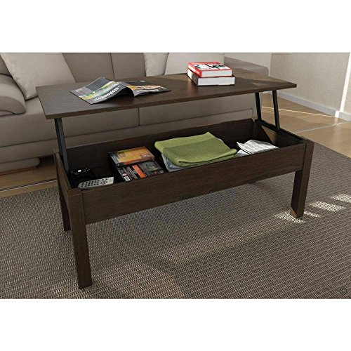 Full Extending and Storage Inside Lift-Top Coffee Table, Espresso