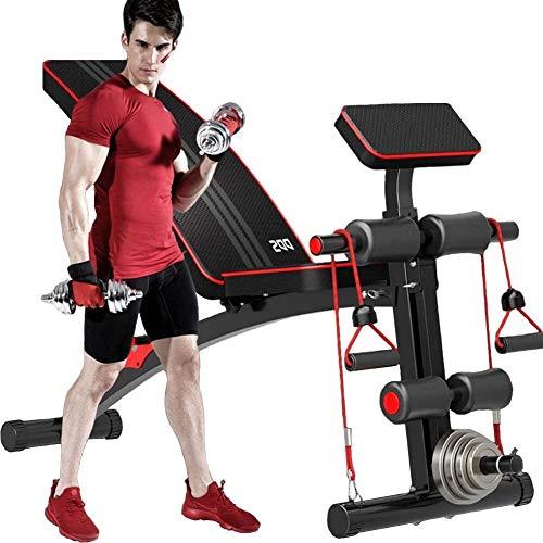 Banco de pesas ajustable LAZ con pesas para entrenamiento abdominal, silla romana sentada, negro