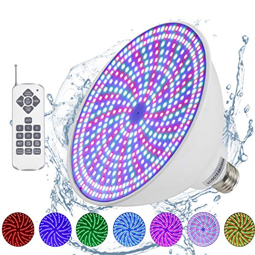 Moker Waterproof 12V LED Pool Light Bulb for Inground Swimming Pool,Color-Change 468Pcs SMD2835 LEDs RGB IP68 Switch Control or Remote,Compatible with Pentair and Hayward Pool Light Fixtures - 12VAC