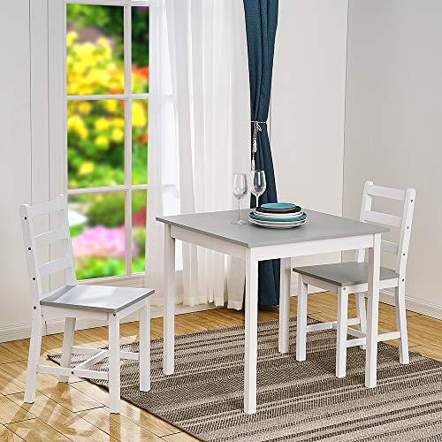 Panana Wooden Dining Table Set With 2 Chairs in Choice of Colours Dining Room Furniture Set (Grey and White)