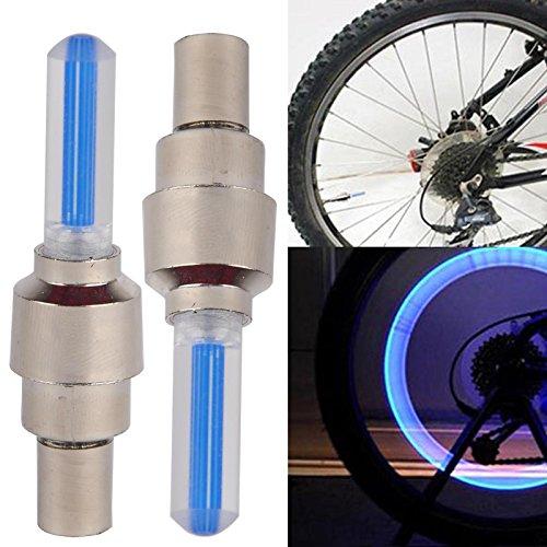 2x LED Ventil Kappen BLAU, Reifen Beleuchtung, Speichen Licht, für Fahrrad Felgen Auto Bike (blue / blau) Valve Caps - 2
