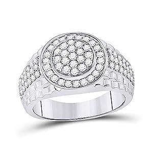 Diamond2Deal Herren-Ring 10 Karat (750) Weißgold Diamant rund 1-3/8 Karat