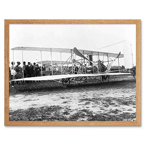 Wee Blauwe Coo Vintage Fotografie Icoon Wright Brothers Vliegtuig Art Print Ingelijste Poster Muurdecoratie 12X16 Inch