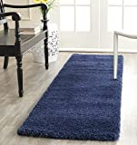 Safavieh Milan Shag Collection SG180-7070 2-inch Thick Runner, 2' x 12', Navy