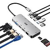 ICZI Hub USB C 11 en 1 Triple Display Hub, USB C Hub con Dual HDMI 4K,1080P VGA,100W PD,RJ45 Ethernet,USB 3.0,USB 2.0,Lector de Tarjetas Docking Station para Macbook Pro/Air 2020 etc