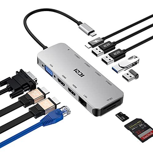 ICZI Hub USB C 11 en 1 Triple Display Hub, USB C Hub con Dual HDMI 4K,1080P VGA,100W PD,RJ45 Ethernet,USB 3.0,USB 2.0,Lector de Tarjetas Docking Station para Macbook...