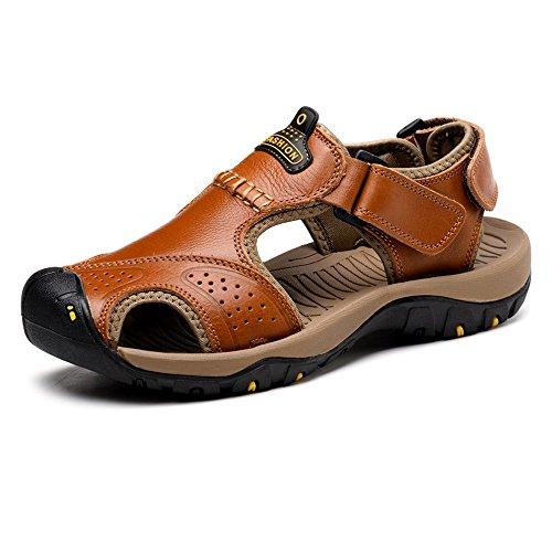 Zapatos de Cuero, Zapatos Casuales, adecuados para Sandalias de los Hombres, ventiladas a Medida, porosas, Altas y Cuero. Playa Suave Suela (Color : Brown, Size : 10.5MUS)