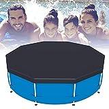 Cubierta para piscina hinchable, protección para piscina redonda y rectangular, antipolvo, anti-UV, antilágrima, apto para la mayoría de las piscinas (redondo, negro, 244 x 244 cm)
