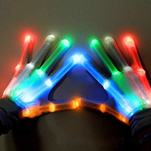 Finger Leuchthandschuhe LED Bunte Blinkt Handschuhe Halloween Spielzeug für Geburtstag Disko Licht Show Clubbing Tanzen Rave,Bunt