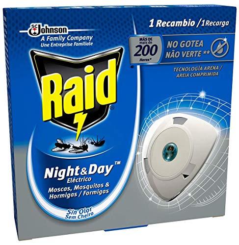 Raid Night & Day - Recambio para Aparato Electrico Anti Moscas, Mosquitos y Hormigas. Recarga Enchufe Inoloro con Más de 200 Horas de Protección, Azul, Incluye 1 Recambio