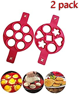 Pancake Mould maker, 2 pack Upgrade 14 Cavity Nonstick Silicone Baking Round Mold Egg Rings Muffin Pancake Mould Heart, Dishwasher Safe