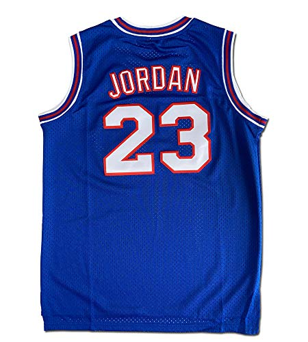 Youth Basketball Jersey #23 Moive Space Jam Jerseys for Kids (Blue, Youth Large)
