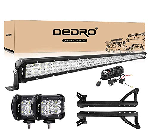 "OEDRO LED Light Bar 52 Inch 758W 66430LM Tri-Row Combo Beam+2PC 4"" 27W Tri-Row Combo Beam Off Road Driving Light Pod + Wiring Harness + Upper Roof Windshield Mounting Bracket Fit for Jeep JK Wrangler"
