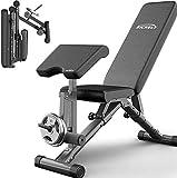 Byakns Abdomen o Pierna Equipo de fitness Home Ejercicio Banco de peso con extensión de pierna y rizo de pierna, Banco de entrenamiento de ejercicios de versatilihome plegable, peso totalmente ajustab