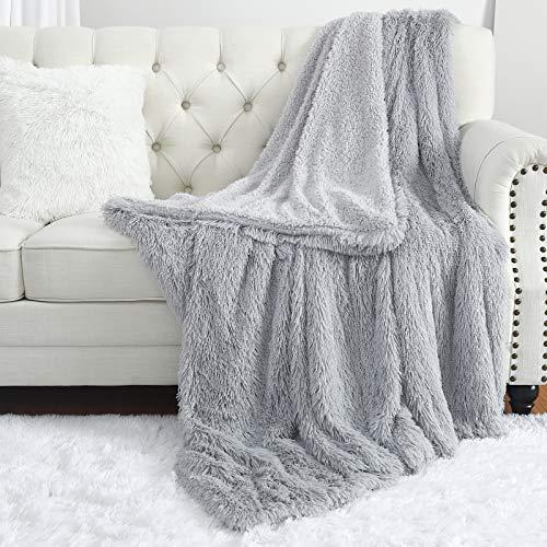 Manta de piel sintética, acogedora y esponjosa para sofá cama, mantas de forro polar de felpa y suaves mantas de sherpa (gris claro, 127 x 152 cm)
