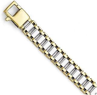 Finejewelers 14 kt Two Tone Gold Polished Link Mens Bracelet
