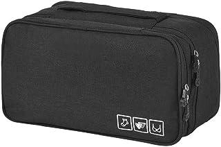 حقيبة تخزين ملابس السفر من أكادي حقيبة تخزين مستحضرات التجميل الداخلية الجوارب المنظم الحقيبة الأسود