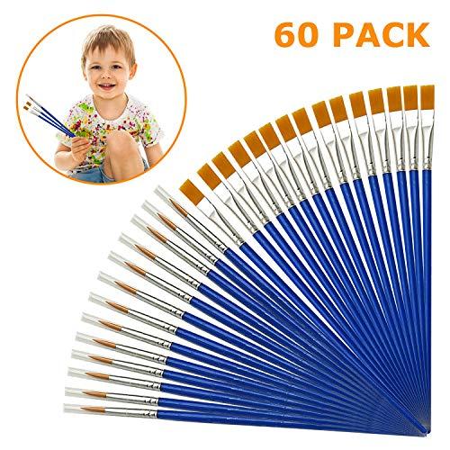 AYE 60 Pezzi Professionali Pennelli da Pittura Bambini Paint Brush Set per Principianti, Artisti - Nylon, Blu