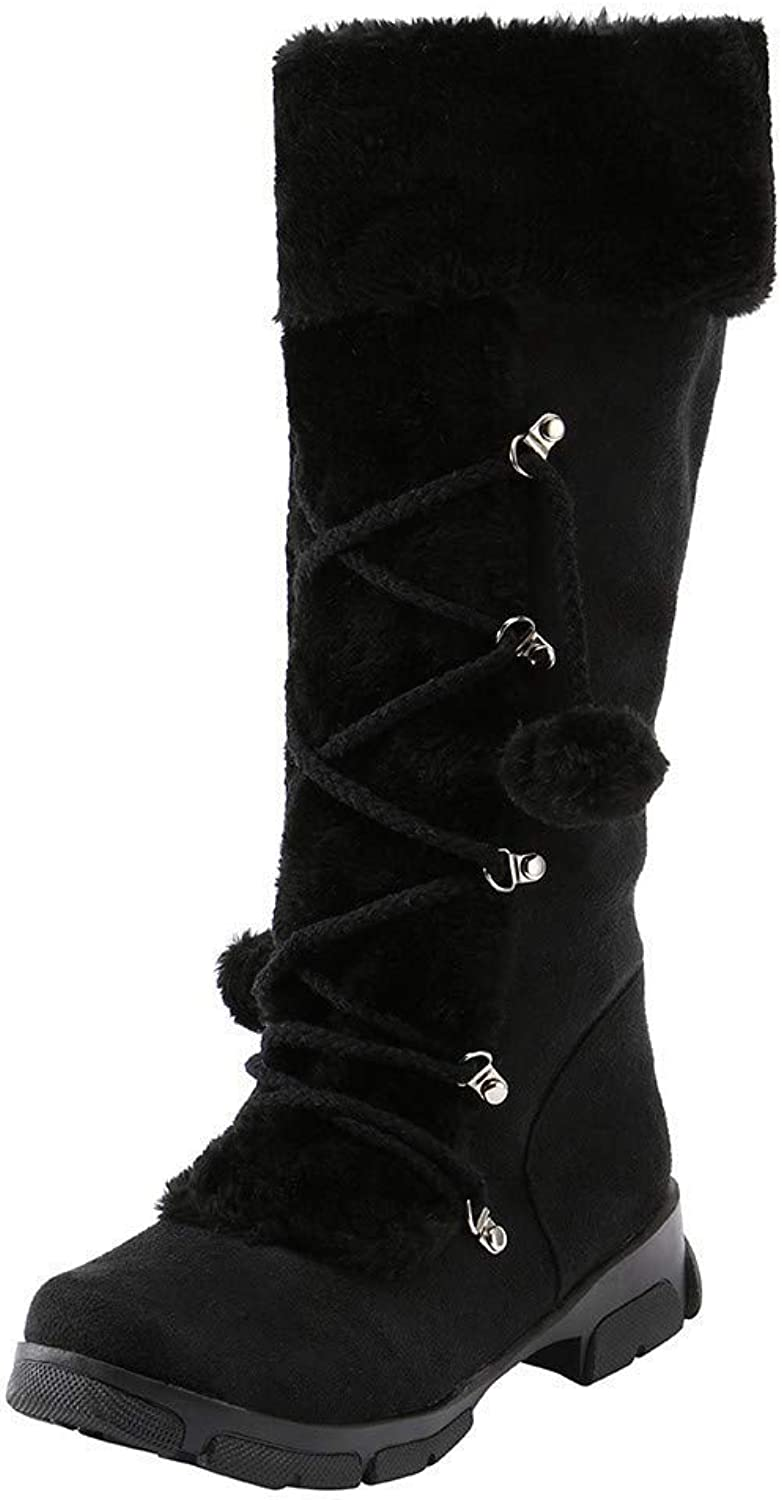 Brilliant sun Suede Warm Snow Mid Calf Boots Women Square Heel Round Toe Hairball shoes