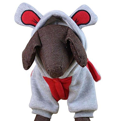 OMEM hond variabele olifant jumpsuit Halloween, Kerst jurk gebreide zachte winter dikke lange neus olifant uniek ontwerp, XL, Rood