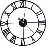 WISKALON Reloj De Pared Vintage Movimiento De Cuarzo Relojes De Pared Silenciosos Sin Tictac Reloj con Batería Que Cuelga Reloj Redondo De Madera Vintage  Pájaro En Rama 14'