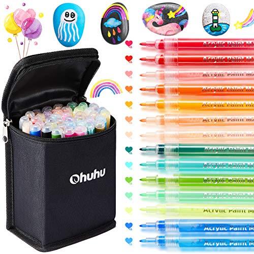 Acrylstifte für Steine, Ohuhu 40-Farben Acrylfarben Stifte für die Felsmalkunst, Keramik, wasserbasierte für Porzellan, Metall, Holz, Stoff, Leinwand, Glas, Acrylstifte