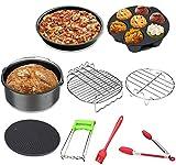 Accessori per friggitrice ad aria calda, 9 pezzi, accessori Air Fryer con rivestimento antiaderente, teglia da forno, pizza, griglia, griglia a vapore – per 3,2 l e superiore XL Princess Philips