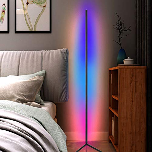 JAKROO Nordischer Stil LED Stehlampe, RGB Fernbedienung dimmbar für Wohnzimmer Schlafzimmer Atmosphäre Beleuchtung, Weiß/schwarz Schale,Schwarz