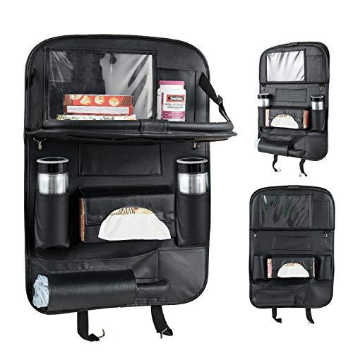 車用シートバックポケット Artilee レザー素材車用収納ポケット 後部座席収納 折り畳みテープル 付き 防水防汚 大容量 多機能(ブラック)