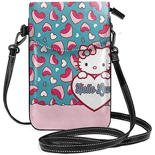 Ahdyr Bolsos cruzados para mujer-Hello Love Kitty Cartera pequeña para teléfono celular con ranuras para tarjetas de crédito