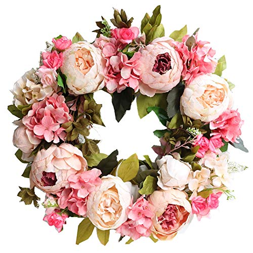 Artificial Wreath Outdoor Wreath Artificial Flower Simulation Door Flower Garland Floral Decor for Farmhouse Office Home Wedding Festival Light Pink