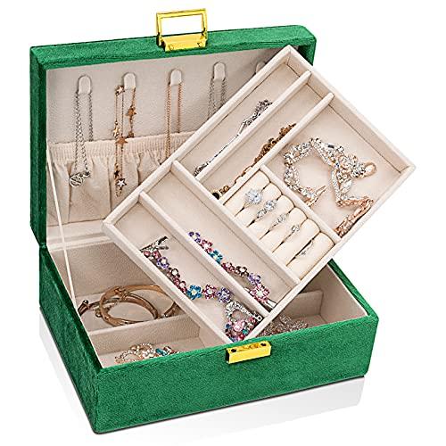 Caja organizadora de joyas de viaje grande de 2 capas con cerradura para joyas, para collares, pendientes, pulseras, anillos, relojes
