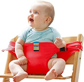 Hosim Portable Washable Baby Travel High Chair Booster Safety Seat Strap Toddler Safety Harness Belt for Baby Feeding - Red