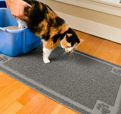 """CleanHouse Pets Cat Litter Mat, XL Size, Non-Slip, Easy to Clean, Stops All Litter Tracking, No Phthalate, Durable, Soft on Kitty Paws, Scatter Control for Cat Litter Box, Water Resistant (36""""x24"""")"""