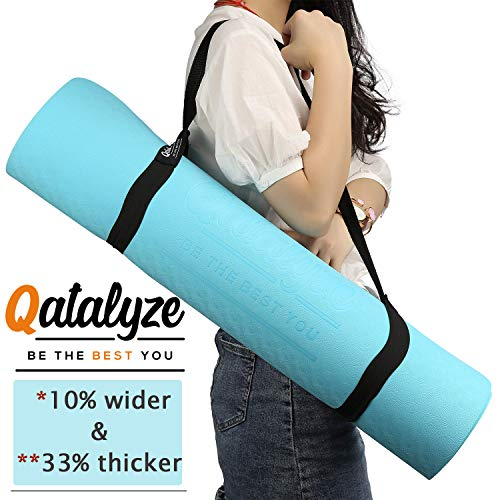 Qatalyze Extra Thick 8mm TPE Non Slip; Strong Grip Yoga/Exercise mat with Cover Bag and Strap for Men and Women (183cm x 66cm x 8 mm; Blue)
