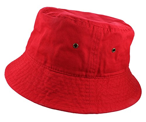 Gelante 100% Cotton Packable Fishing Hunting Summer Travel Bucket Cap Hat 1900-Red-S/M