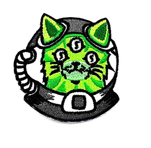 Green Cat Cute Cat Alien Monster UFO Space Cartoon Children Kid Patch Clothes Bag T-Shirt Jeans Biker Badge Applique Iron on/Sew On Patch