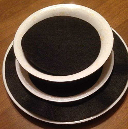 LAMINET Felt Dividers - BLACK - Set of 48 - Includes (12) 10' Diameter Dinner Plate Dividers, (24) 6' Diameter Salad/Dessert Plate Dividers, (12) 4.5' Diameter Saucer/Bread & Butter Plate Dividers