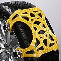 ZGQA-GQA Vehemoユニバーサルスノーチェーン36x28.5x4cm車ホイールタイヤ雪の泥チェーンTPU合金肥厚アンチスキッドストラップ付きレンチ2色 (Color Name : Yellow)