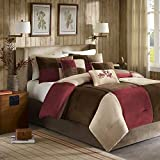 Madison Park Cozy Comforter Set Casual Blocks Design All Season, Matching Bed Skirt, Decorative Pillows, King(104'x92'), Red Brown, 7 Piece