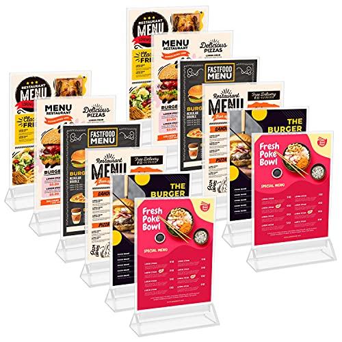 Kurtzy Porta Carteles A5 (Pack de 12) 16 x 24,5 cm - Expositor Transparente de Plástico Doble Cara en Vertical de Sobremesa - Portamenus Mesa, Marco de Fotos, Atril para Publicidad