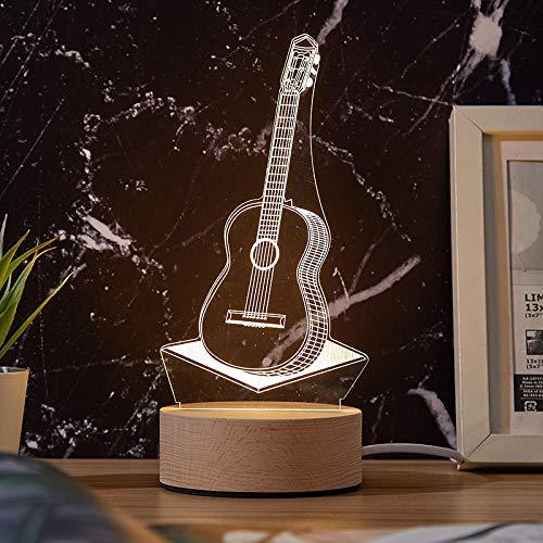Dekor weihnachtenDekorative 3d Nachtlicht USB Geschenk Tischlampe LED Base Schlafzimmer Nachttischlampe-Gitarre_Massivholz USB Monochrom