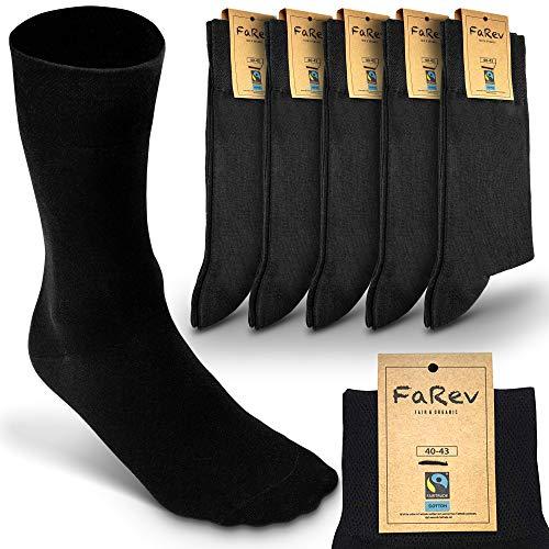 FaRev® Fairtrade Bio Socken im 5er Pack - Damen und Herren - schwarz - Größe 40-43